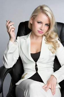 blonde sales woman
